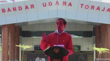 Presiden Joko Widodo saat peresmian Bandar Udara Toraja dan Bandar Udara Pantar, Kab. Tana Toraja (18/3/2021). (Tangkapan Layar Youtube Sekretariat Presiden)