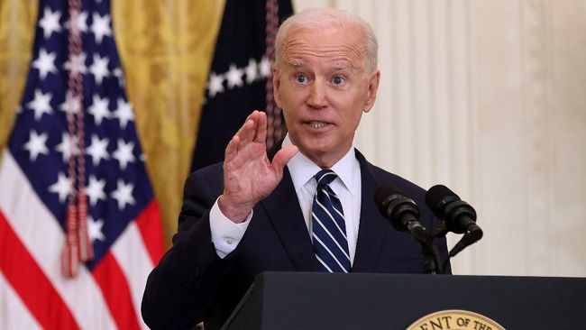 Presiden AS Joe Biden menjamu PM Jepang Yoshihide Suga, Jumat (16/4). AS dan Jepang sepakat bersatu melawan China.