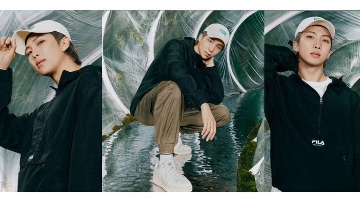 Meskipun konsepnya kasual dan natural, RM justru terlihat semakin berkharisma dengan setelan hitam! / foto: instagram.com/fila_korea