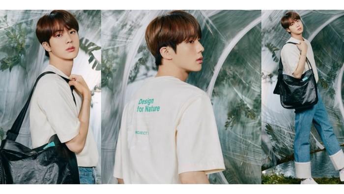 Sebagai member tertua, Jin memiliki sifat yang lembut. Bahkan auranya terlihat makin lembut ketika mengenakan t-shirt putih dan jeans ini / foto: instagram.com/fila_korea
