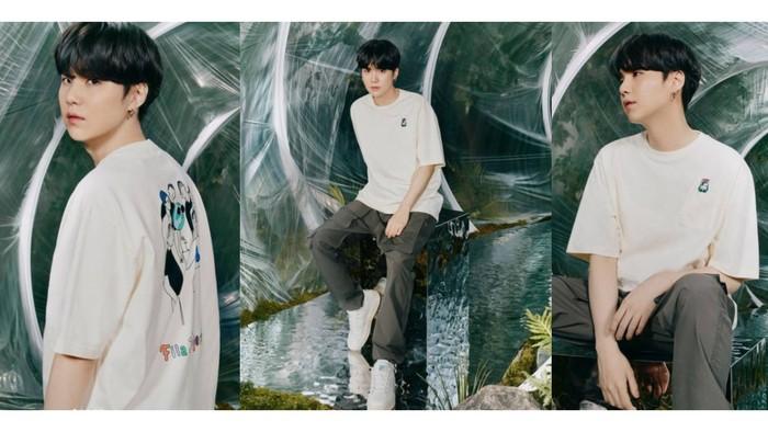 Terkenal memiliki visual yang manis seperti gula, Suga makin gemesin dengan oversized t-shirt / foto: instagram.com/fila_korea