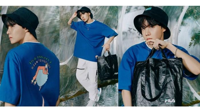 Mantan anak street dance dan jadi rapper dalam grup, J-Hope emang enggak bisa lepas style hip-hop. Jadi pengen lihat J-hope manggung dengan outfit ini, enggak sih? / foto: instagram.com/fila_korea