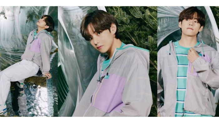 Boxy smile-nya BTS, V, cocok banget pakai jaket ungu, warna khas fandom BTS! / foto: instagram.com/fila_korea