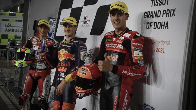 Dua pembalap Indonesian Gresini Racing Jeremy Alcoba dan Gabriel Rodrigo tampil apik di kualifikasi MotoGP Doha di Sirkuit Losail, Sabtu (3/4).