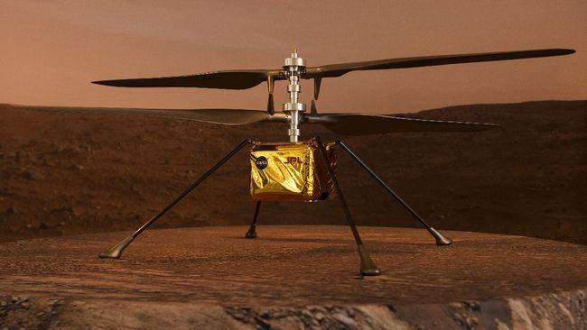 Helikopter Ingenuity melakukan penerbangan di Mars setinggi 3 meter selama 30 detik.