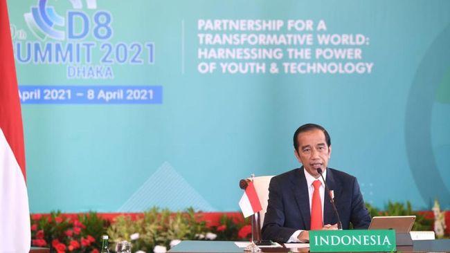 Jokowi menyampaikan road map Indonesia 4.0 lewat transformasi digital di hadapan Kanselir Jerman Angela Merkel secara virtual..