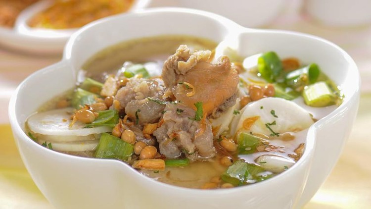 Soto (also known as sroto, tauto, saoto, or coto) is a traditional Indonesian soup mainly composed of broth, meat, and vegetables. Many traditional soups are called soto, whereas foreign and Western influenced soups are called sop.  Soto is sometimes considered Indonesia's national dish, as it is served from Sumatra to Papua, in a wide range of variations. Soto is omnipresent in Indonesia, available in many warungs and open-air eateries on many street corners, to fine dining restaurants and luxurious hotels. Soto, especially soto ayam (chicken soto), is an Indonesian equivalent of chicken soup. Because it is always served warm with a tender texture, it is considered an Indonesian comfort food