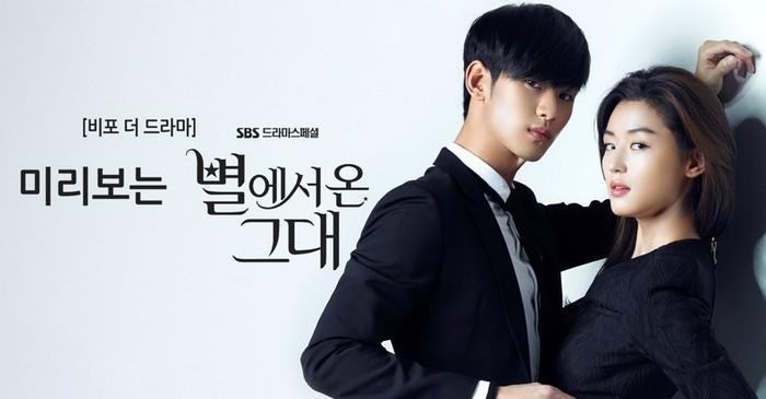 Men Love From The Star, kisah cinta antara alien dan manusia yang diperankan oleh Jun Ji Hyun (1981), dan Kim Soo Hyun (1988) / foto: sbs.co.kr