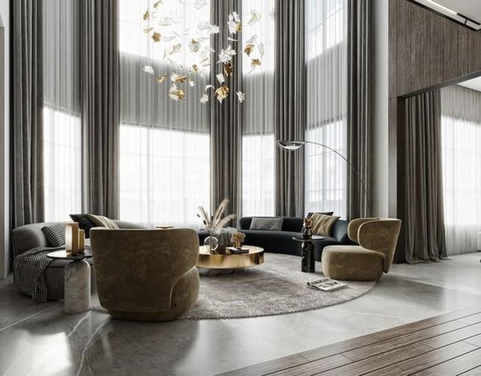 Ruang keluarga dengan ceiling yang tinggi dapat membuat udara di ruangan tersebut lebih sejuk. Desainnya cocok untuk kalian yang ingin terlihat simple namun elegan. (sumber : pinterest.com/behance)