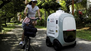 FOTO: Kurir Pengantar Barang Sudah Diganti Robot di Singapura
