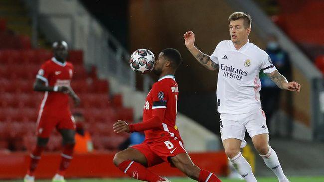 Pertandingan Liverpool melawan Real Madrid berakhir dengan skor 0-0 pada leg kedua babak perempat final Liga Champions di Anfield, Kamis (15/4) dini hari.