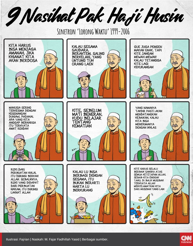 Pak Haji Husin (Deddy Mizwar) dalam sinetron Lorong Waktu adalah salah satu tokoh ikonik di perjalanan sinetron religi di Indonesia.