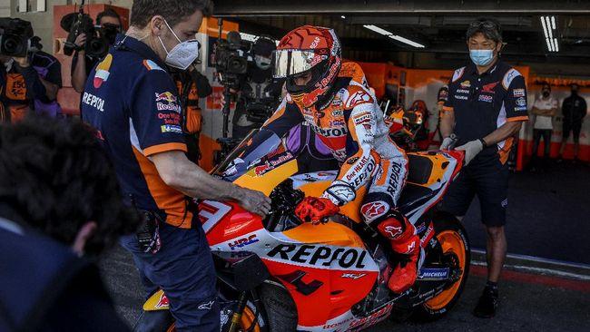 Marc Marquez menyadari balapan MotoGP Portugal 2021 tak mudah, terlebih dokter dan fisioterapis sudah mengingatkan kondisi lengannya pada hari balapan.