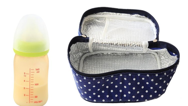 frozen breastmilk, cooling bag, and milk in bottle isolated on white background