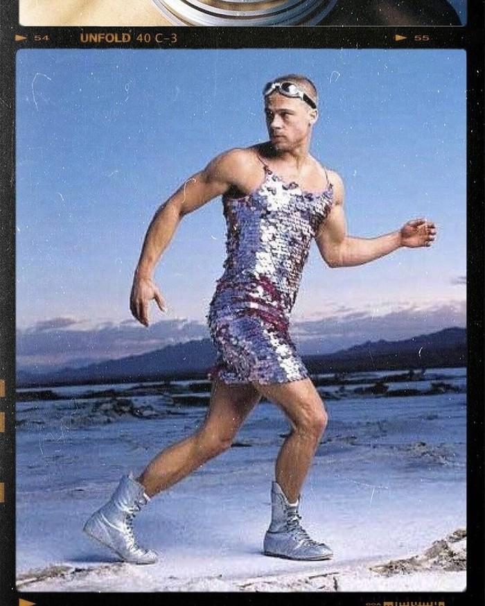 Brad Pitt untuk majalah Rolling Stone tahun 1999 yang kontroversial. Foto: instagram.com/90scelebvibes/