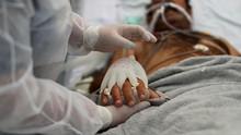 FOTO: Gengaman Palsu Perawat Brasil Hangatkan Pasien Covid