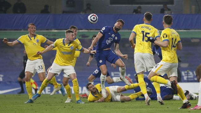 Chelsea gagal meraih poin penuh saat menjamu Brighton & Hove Albion dalam pertandingan pekan ke-32 Liga Inggris di Stadion Stamford Bridge.