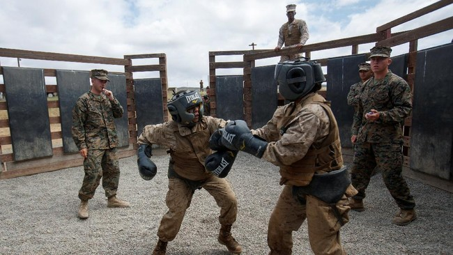 Marinir perempuan AS menunjukkan keperkasaannya dalam latihan militer di kamp di San Diego, yang sebelumnya hanya dipakai oleh pasukan laki-laki.