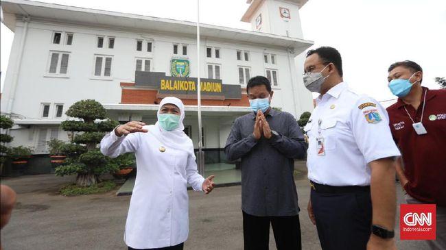 Gubernur Anies menemui Gubernur Jawa Timur Khofifah Indar Parawansa terkait kerja sama pasokan beras untuk Jakarta.