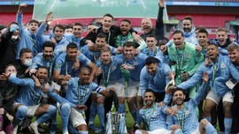 FOTO: Mimpi Treble Manchester City Mulai Nyata