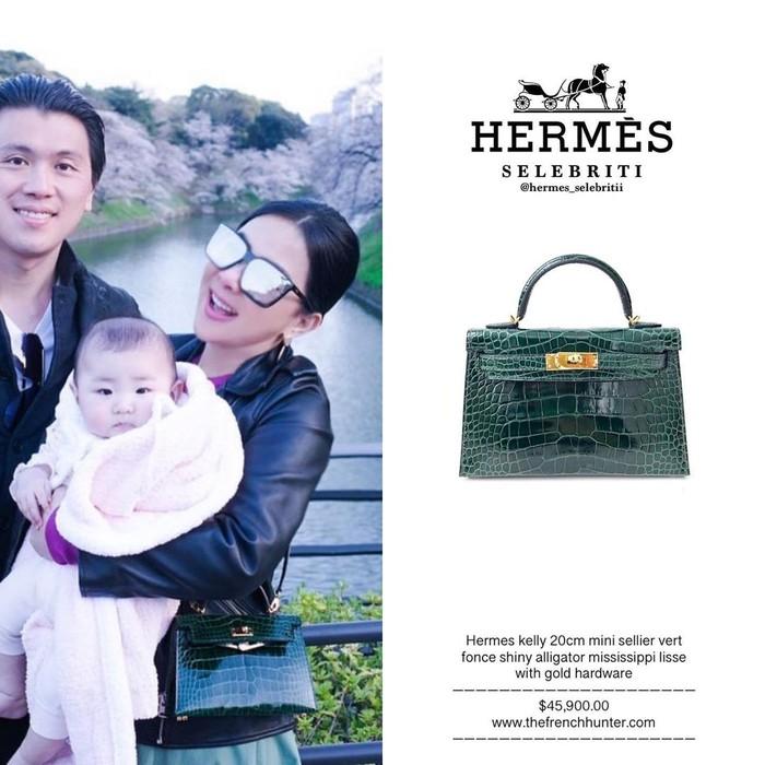 Tak kalah mahalnya, tas Hermes Mini Sellier Vert Fonce Shiny Alligator Mississippi Lisse With Gold Hardware yang digunakannya ini seharga Rp. 660 jutaan lebih. (Foto: Instagram.com/hermes_selebritii)