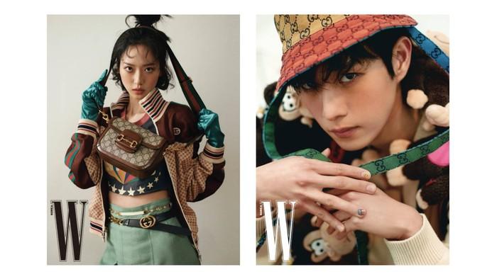 Hmm... mereka cocok jadi anak konglomerat Hera Palace, ya. Lihat deh, baju dan pernak-pernik dari Gucci ini tampak semakin mewah dipakai oleh si kembar! / foto: wkorea.com