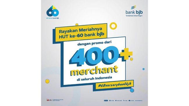 Menyongsong usia ke-60, Bank BJB menggelar promo yang berlaku di lebih dari 400 merchant pada 6 sampai 31 Mei 2021.