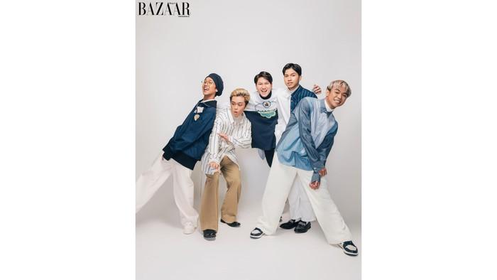 (kiri ke kanan: Zweitson, Fenly, Fiki, Fajri, Gilang) Fyi, masing-masing anggota UN1TY berasal dari berbagai pulau dan provinsi Indonesia yang berbeda-beda / foto: harpersbazaar.co.id