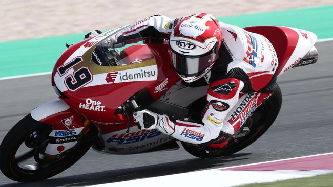 Pembalap Honda Asia Team, Andi Gilang menempati posisi keenam pada sesi tes bebas (FP1) Moto3 Prancis di Sirkuit Bugatti, Jumat (14/5).