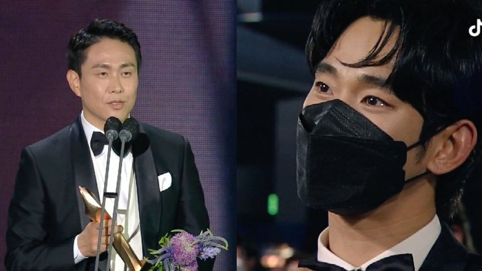 Moon Gang Tae (Kim Soo Hyun) terharu melihat kakaknya, Moon Sang Tae (Oh Jung Se) menerima penghargaan berkat perannya dalam drama It's Okay not to be Okay / foto: tiktok.com/baeksang.official