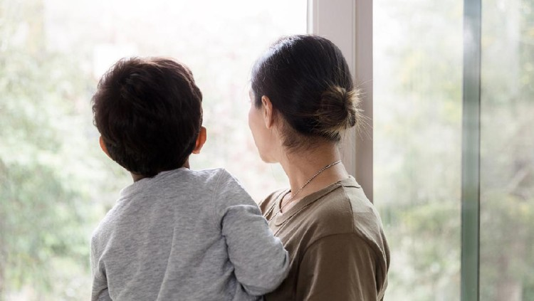 A rear view photo of a mother holding her young son while they look out the living room windows.