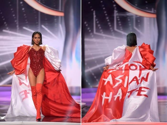 Miss Singapore, Bernadette Belle Ong, menyuarakan 'Stop Asian Hate' dalam pagelaran National Costume yang dibalut dengan warna bendera negaranya/Sumber/Insider.