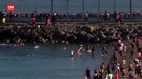 VIDEO: 3000 Imigran Maroko Berenang Menuju Spanyol