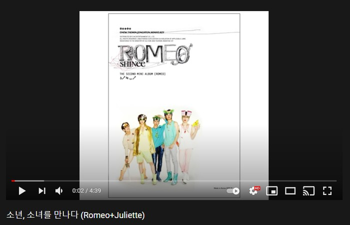 8. Romeo + Juliette - 2nd Mini Album 'Romeo' (2009) / foto: youtube.com/shinee