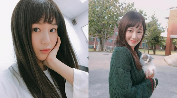Selain rambut pendek, Lee Da In juga pernah menggunakan poni depan pada foto yang diunggahnya tahun 2018 silam. | instagram.com/xx__dain
