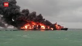VIDEO: Kapal Kargo Terbakar, Sri Lanka Minta Bantuan India