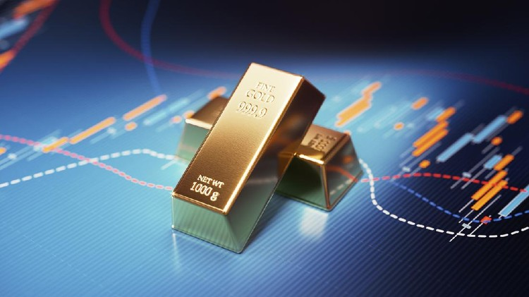 Gold bars sitting over blue financial bar graph. Selective focus. Horizontal composition with copy space. Stock market and finance concept.