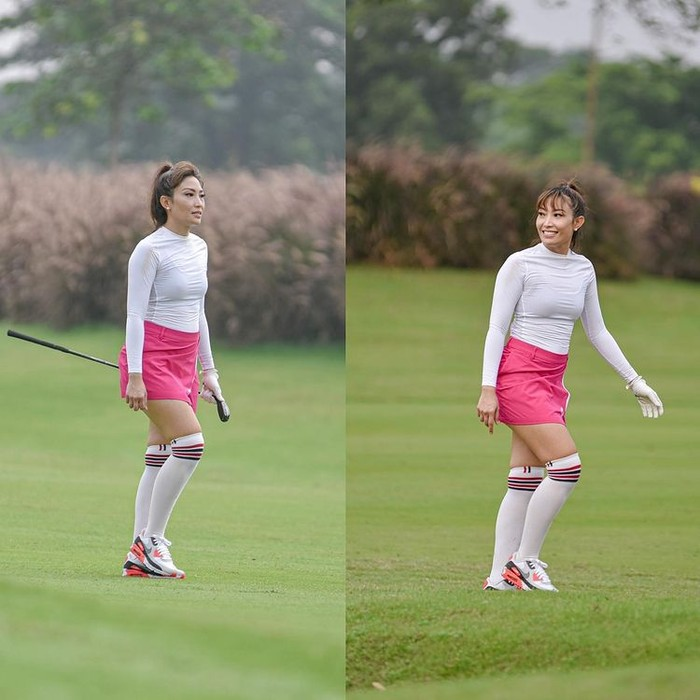 Presenter Ayu Dewi terlihat aktif dalam menggeluti hobi bermain golf. Dia kerap kali bergabung dengan beberapa lingkar pertemanan selebriti dari satu lapangan ke lapangan golf lainnya/Sumber/Instagram/mrsayudewi.