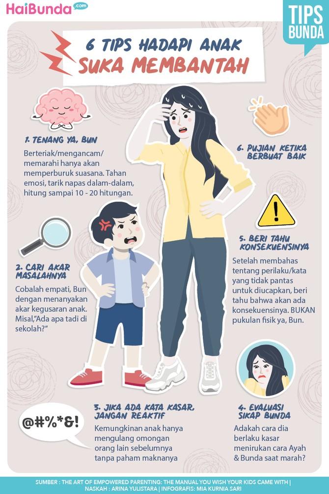 Infografis 6 Tips Hadapi Anak Suka Membantah