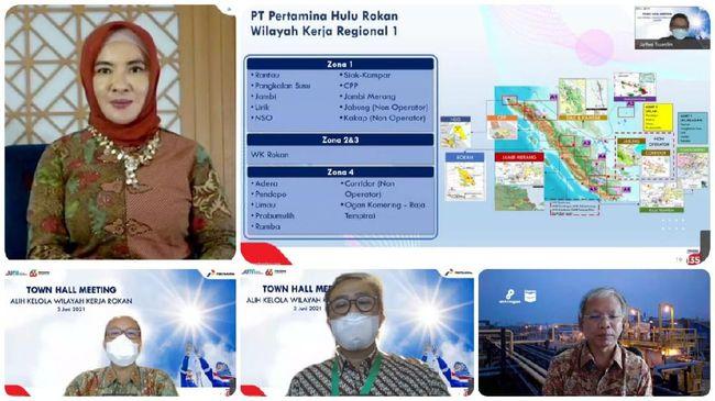 Jelang alih kelola Blok Rokan dari CPI ke Pertamina Hulu Rokan,Pertamina menyambut pekerja PT Chevron Pacific Indonesia melalui diskusi daring pada Kamis (3/6).