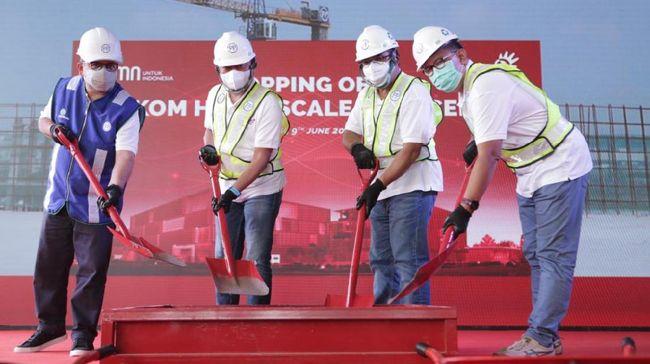 pembangunan pusat data skala besar, yakni HyperScale Data Center (HDC) milik Telkom Indonesia hampir memasuki tahap akhir untuk campus 1.