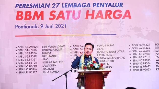 BPH Migas kembali meresmikan 27 SPBU BBM 1 Harga untuk wilayah terdepan, terpencil, tertinggal (3T) secara serentak di TBBM Siantan, Pontianak, Kalbar.