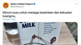Cuitan Kocak Netizen Balas Akun BIN Anjurkan Minum Susu