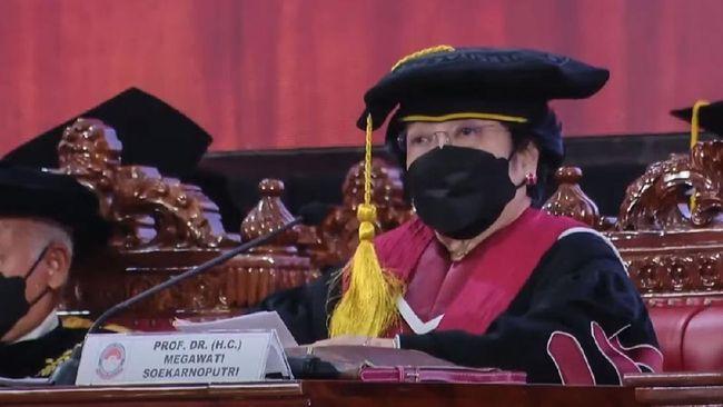 Ketua Dewan Pengarah BRIN Megawati Soekarnoputri menyoroti teknologi kloning saat menyampaikan orasi pengukuhan profesor kehormatan di Unhan.
