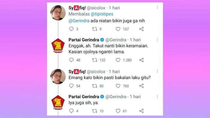 Menanggapi meme MCD x PDIP tadi, sebuah akun twitter secara iseng menanggapi meme tersebut dengan menyenggol partai Gerindra. Percakapannya dengan akun twitter Partai Gerindra pun langsung ramai karena terkesan menghibur. (twitter.com/tipistipes)