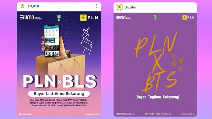 PLN juga tidak mau ketinggalan momen yang satu ini. Mereka membuat sebuah poster dengan vybes BTS sebagai reminder supaya masyarakat tidak lupa membayar tagihan. (Sc Pict : instagram.com/pln_id & instagram.com/pln_jabar)