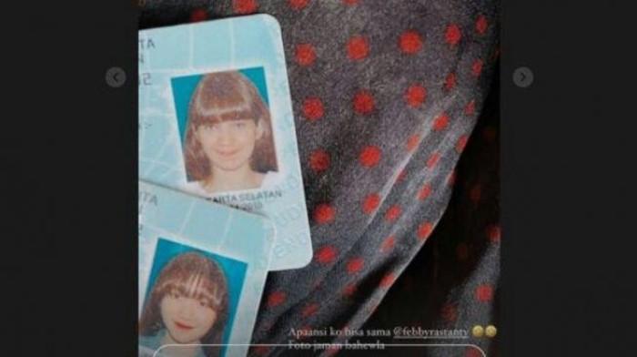 Kalau ini foto KTP Febby Rastanti dan Enzy Storia yang ternyata punya gaya rambut yang sama. Foto: Instagram