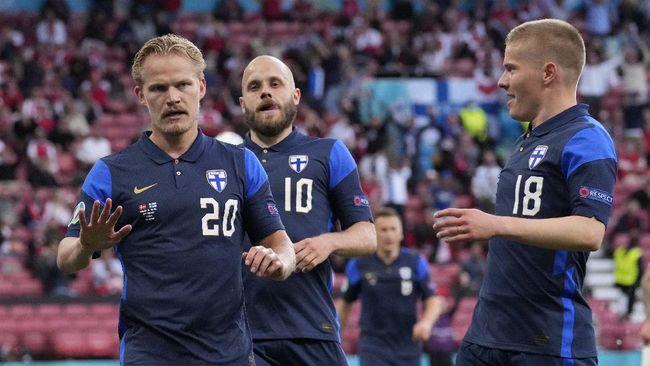 Finlandia tak berselebrasi di ruang ganti usai menang 1-0 atas Denmark demi menghormati Christian Eriksen yang pingsan di Euro 2020 (Euro 2021), Sabtu (12/6).