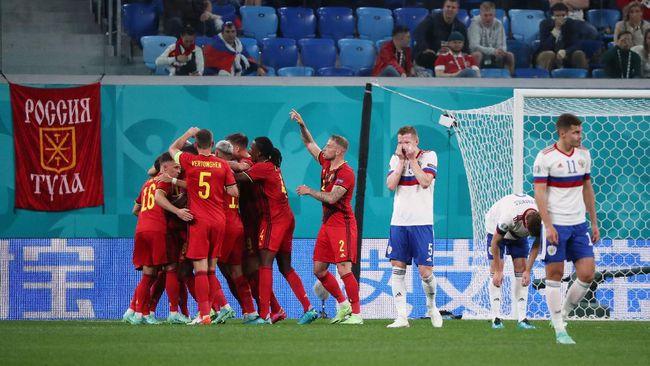 Timnas Belgia menang telak 3-0 atas Rusia pada pertandingan di Grup B Euro 2020 (2021) di Stadion Saint Petersburg, Minggu (13/6) dini hari waktu Indonesia.