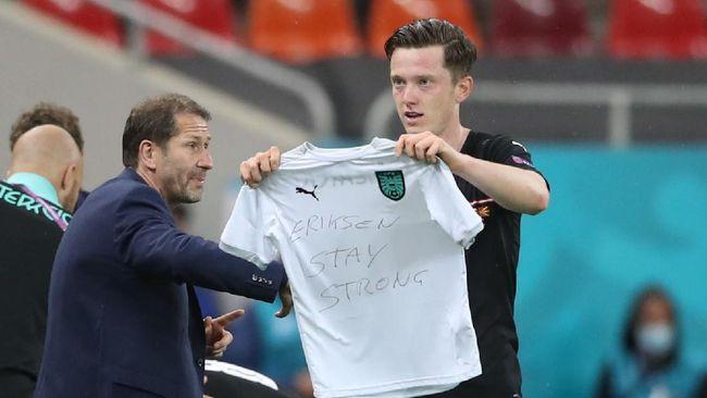 Striker timnas Austria, Michael Gregoritsch memberikan pesan emosional untuk Christian Eriksen di Euro 2020 (Euro 2021).